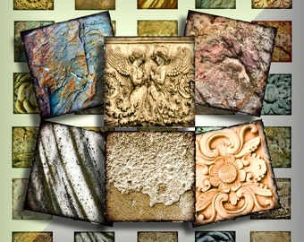 Stone Textures One Inch 1 Inch Squares Digital Collage Inchies Printable Instant Download Pendant Images Buttons Magnets Grunge