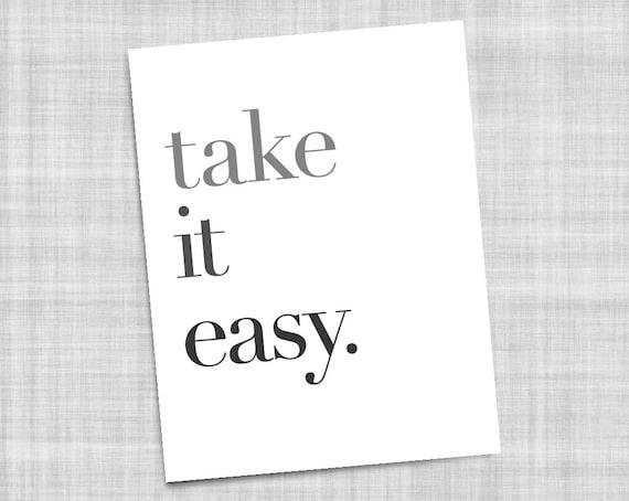take it easy typography bedroom art black white instant. Black Bedroom Furniture Sets. Home Design Ideas