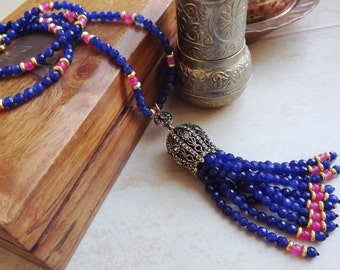 Ethnic Turkish Tassel Necklace Deep Blue Facet Jade Gemstone Statement Gypsy Hippie Bohemian Artisan - One Of A Kind