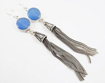Blue Round Gemstone Tassel Earrings - Jade - Matte Silver plated with Sterling Silver Earwire - Boho Gypsy Style