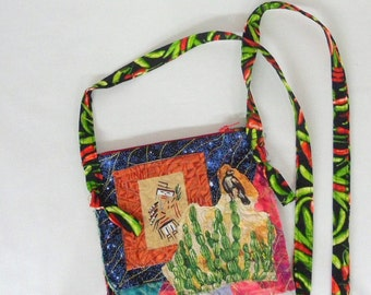 Fabric Art Purse Crossbody Bag Raw Edge Applique Gift for Her