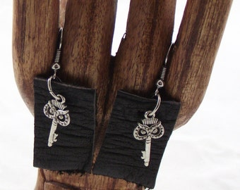 Boho Earrings, Leather, Owl, Dangle Earrings, upcycled,  eco friendly, jewelry,  keys, recycled leather, dark brown, chabby chic