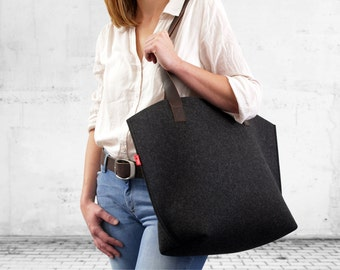 Tote bag -YORK-  100% Wool Felt, Pure Vegetable Tanned Leather (YO-ADB)