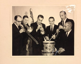 Vintage Black and white photo, swing band photo, musicians photo, trumpet photo, 50s band photo