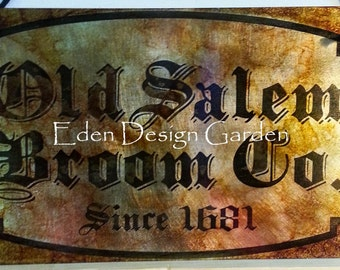 "Old Salem Broom Co 8""x12"" etched metal sign"