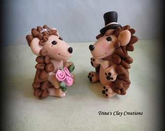 Wedding Cake Topper, Custom Cake Topper, Hedgehog Cake Topper, Hedgehog, Personalized, Polymer Clay, Bride and Groom