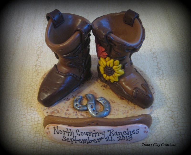 Wedding Cake Topper Custom His And Her Cowboy Boots Polymer