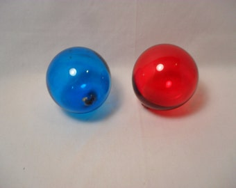 Lot of 2 Hand Blown Glass Colored Balls