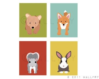 Forest animal nursery prints. SET of ANY 4 Woodland creatures wall art pictures for baby, child & kids room. Fox, owl prints. Citrus