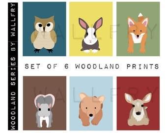 Children spring woodland animal prints. Kids wall art, forest nursery art. Owl print. SET OF 6 prints by WallFry