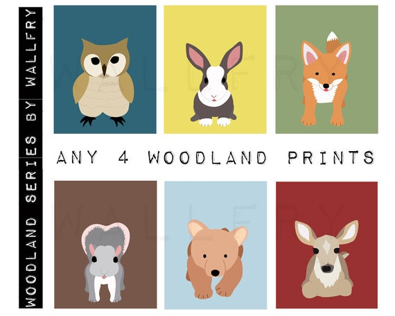 Woodland nursery art for children. Forest Friends owl baby nursery decor owl & fox. SET of ANY 4 Nursery prints for kids. Kids decor.