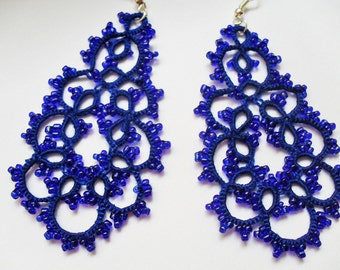 Handmade tatted blue earrings made of cotton thread and  beads, lace  tatted earrings