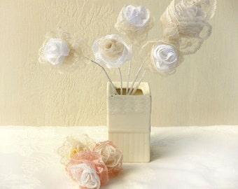 5 Crochet  Lace flowers, Unique  flowers  wedding favor, Country wedding favors, Romantic rustic flower, Wedding quest gift.