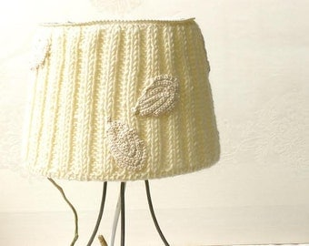 20% Off-Table lamp, Drum lamp shade, Knitted fabric embellished decor from cream natural wool, Desk lamp, Bedside lamp, Country home decor.
