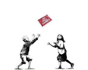 Banksy Canvas (READY TO HANG) - No Ball Games - Multiple Canvas Sizes