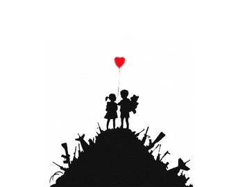 Banksy Canvas (READY TO HANG) - Boys and Girls aka Kids and Guns  - Multiple Canvas Sizes