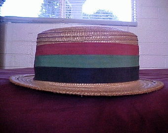 Vintage 20s 30s Mens Italian Straw Boater Hat MED Stripe Grosgrain Ribbon