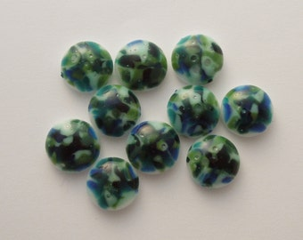 Blue Green Beads - Fused Glass Beads - Lampwork Beads - Fused Glass - Jewelry Findings - Small Beads - Cabochon - Cab  6583