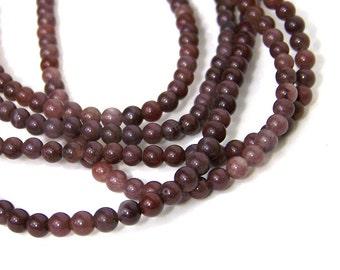 Purple Aventurine gemstone beads, 4mm round natural, full bead strand (502S)