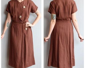 1940s Dress // Paula Brooks Dress // vintage 40s rayon dress