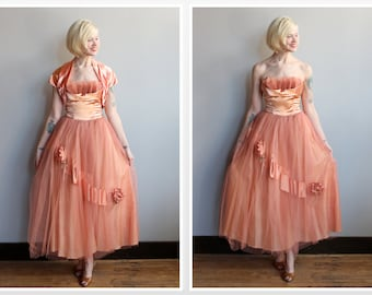 1950s Dress // Hearts Content Formal Dress & Bolero // vintage 50s silk satin party dress