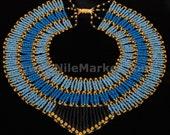 Beautiful Blue  mummy bead cleopatra collar necklace HalloweenMega Sale