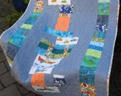 """Blue Patchwork Baby or Toddler Quilt -- """"Baby, You Can Drive My Car"""" -- Mice Quilt -- Animals in Cars Quilts"""