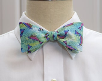 Men's Bow Tie with fish, blue & green, self tie, fisherman's bow tie, angler bow tie, angler's gift, trout bow tie, sport fishing bow tie,