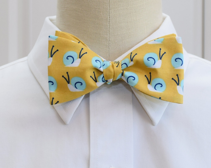Men's Bow Tie, gold with aqua snails, yellow bow tie, zoo wedding bow tie, snail bow tie, cute snail bow tie, aqua snails bowtie, groom tie
