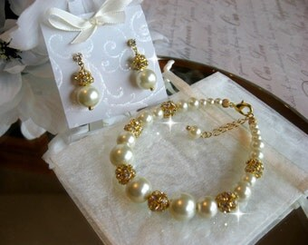 Rhinestone and Pearl Gold Bridal Bracelet and Earring Set- Bridesmaid Bride Jewelry Set-Wedding Jewelry