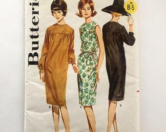 60s Butterick 2933 Dress with Yoke, Knee Length, Sleeveless or Long Sleeve Size 10 Bust 31