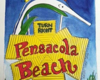 Right at Pensacola Beach | art print | beachy art | Florida panhandle | sailfish marlin | yellow blue