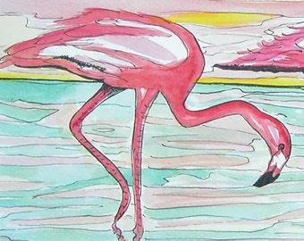 Two Flamingos | Print of a Watercolor and Pen & Ink Painting | Tropical Florida Beachy Beachy Art | hot pink sea water retro artwork