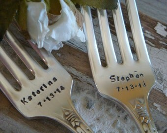 Hand Stamped Vintage Wedding Anniversary Fork Set with names and wedding date personalized forks Silverplate Silverware
