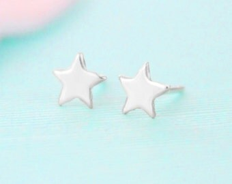 Star Earrings - Sterling Silver - Stud Earrings - Star Jewelry