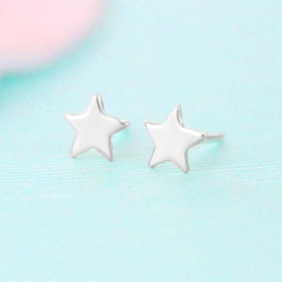 Star Earrings - Sterling Silver - Stud Earrings - Star Jewelry