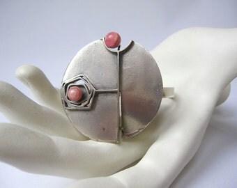 Vintage Silver 835 Brutalist Modernist Space Age Bracelet with Rhodochrosite