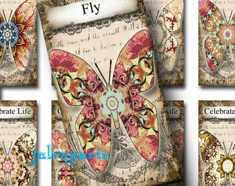 RASPBERRY BUTTERFLIES, 1x2 images, Printable Digital Images, Cards, Gift Tags, domino, Magnets