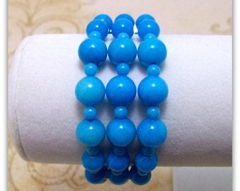 Gemstone Bracelet - 3 Strand Bracelet - Mountain Jade Bracelet, Graduated Bracelet, Graduated Jewelry, Gemstone Jewelry, Bracelet