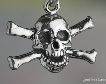Sterling Silver Skull and Crossbones Charm Pirates Poison Solid .925