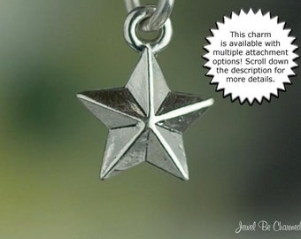 Miniature Star Charm Sterling Silver Pointed Stars Very Small Tiny