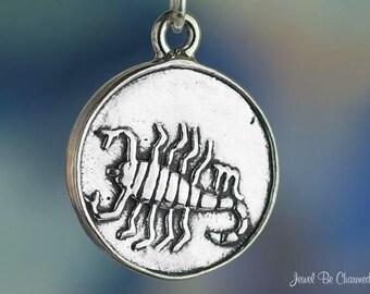 Scorpio Charm Sterling Silver Scorpion Zodiac Astrology Sign Symbol