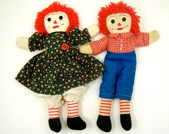 Raggedy Ann and Andy, 2 large handmade vintage soft rag dolls for home decor, children's toy playmates friends, couple, lovers; see all pics