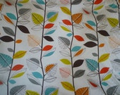 "Cinammon Orange Craft Fabric Brown Blue Green White Funky UK Cotton by the Yard Metre (39"" x 56"")"