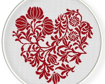INSTANT DOWNLOAD,Free shipping,Cross stitch pattern, Crossstitch PDF,flowers and branches heart, cross stitch pillow pattern,zxxc0546