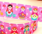 CLEARANCE SALE* FREE Shipping* 3 yards x  Russian Dolls Grosgrain  25mm Ribbon-Hair Bow Supplies-Sewing Notions-Scrapbooking