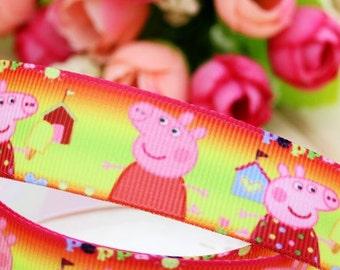 """CLEARANCE SALE* FREE Shipping* 5 yards  Grosgrain Printed 7/8"""" Ribbon, Peppa Pig Ribbon, Sewing Ribbon, Hair Bow Ribbon, Scrapbook Ribbon"""