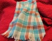 Vintage Scottish Wool Scarf Checkerboard Wool Scarf Blue Tan White SCOTLAND