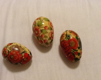 Vintage Decoupage Eggs Set of Three Flower Designs Floral Yellow Pink