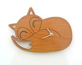 Wood Sleeping Fox Clock: Woodland Modern Nursery Decor
